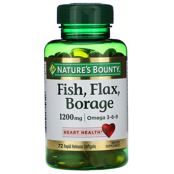 Fish, Flax, Borage, 1,200 mg, 72 Rapid Release Softgels