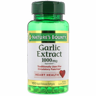 Nature's Bounty, Экстракт чеснока, 1000 мг, 100 мягких таблеток с быстрым высвобождением