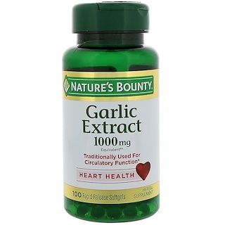 Nature's Bounty, Garlic Extract, 1,000 mg, 100 Rapid Release Softgels