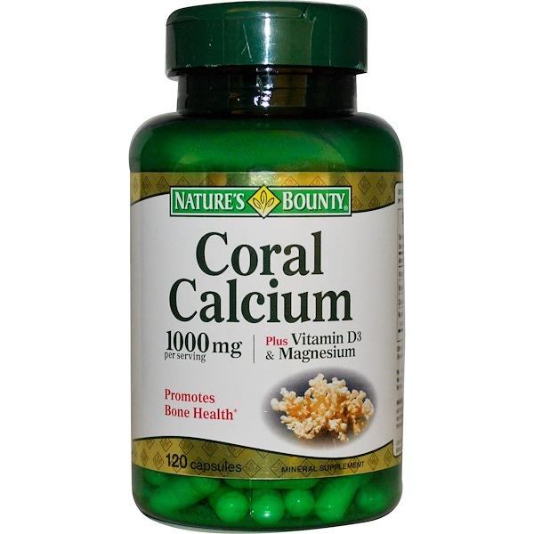 Nature's Bounty, Коралловый кальций, с витамином D3 и магнием, 1000 мг, 120 капсул (Discontinued Item)