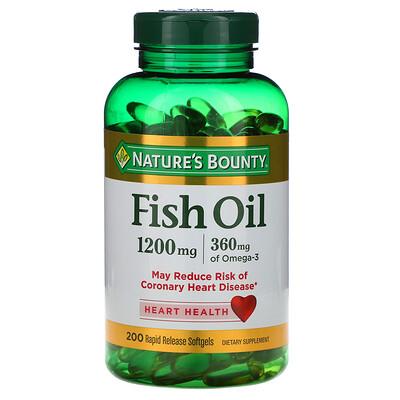 Купить Nature's Bounty Рыбий жир, 1200мг, 200мягких таблеток быстрого высвобождения