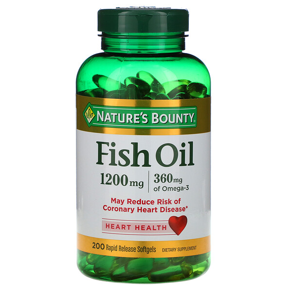 Fish Oil, 1,200 mg, 200 Rapid Release Softgels