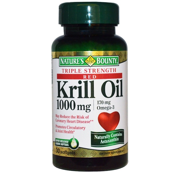 Nature's Bounty, Red Krill Oil, Omega-3, Triple Strength, 1000 mg, 30 Softgels (Discontinued Item)