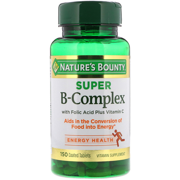 Super B-Complex with Folic Acid Plus Vitamin C, 150 Coated Tablets
