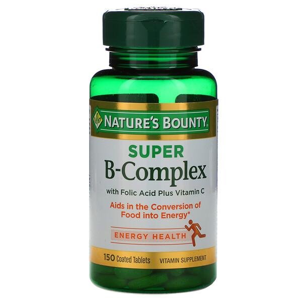 Nature's Bounty, 150 טבליות מצופות עם קומפלקס מעולה של ויטמינים מקבוצת B, חומצה פולית וויטמין C