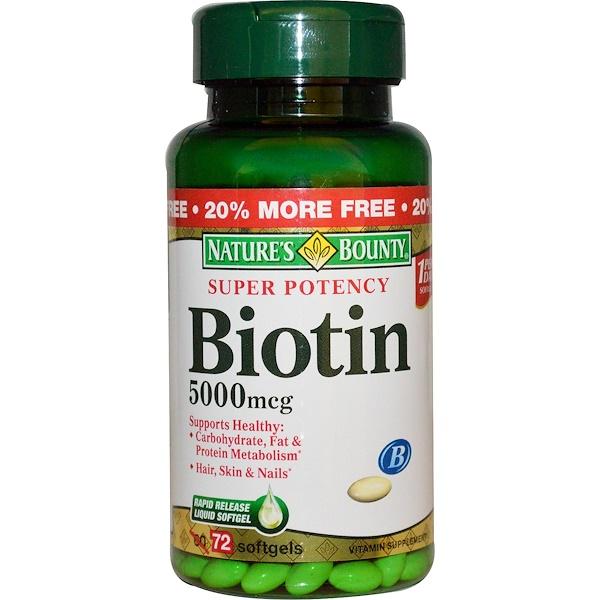 Nature's Bounty, Biotin, 5000 mcg, 72 Softgels (Discontinued Item)