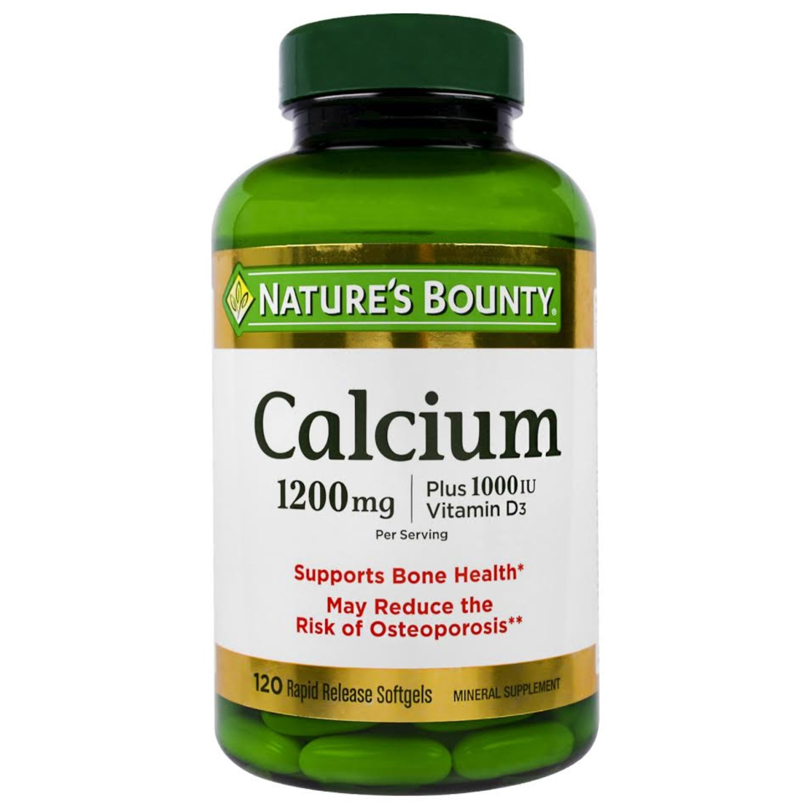 Nature's Bounty, Absorbable Calcium With Vitamin D3, 1200 mg, 120 Softgels