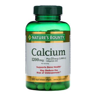 Nature's Bounty, كالسيوم وفيتامين د3، 600 ملجم، 120 كبسولة جيلاتينية سريعة التحرر