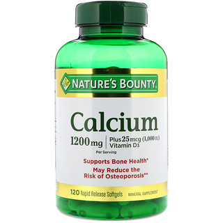 Nature's Bounty, Calcium Plus 25 mcg (1000 IU)  Vitamin D3, 1200 mg, 120 Rapid Release Softgels