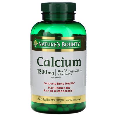 Natures Bounty Кальций с витамином D3, 1200мг, 220мягких желатиновых капсул с быстрым высвобождением действующего вещества