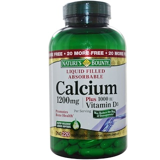 Nature's Bounty, Calcium Plus Vitamin D3, 1200 mg/1000 IU, 220 Rapid Release Softgels
