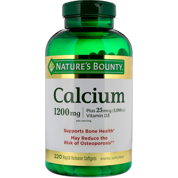 Nature's Bounty, Calcium Plus Vitamin D3, 1200 mg, 220 Rapid Release Softgels