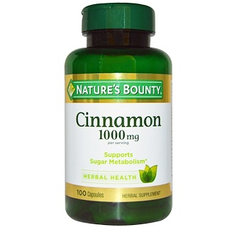 Nature's Bounty, Cinnamon, 1000 mg, 100 Capsules