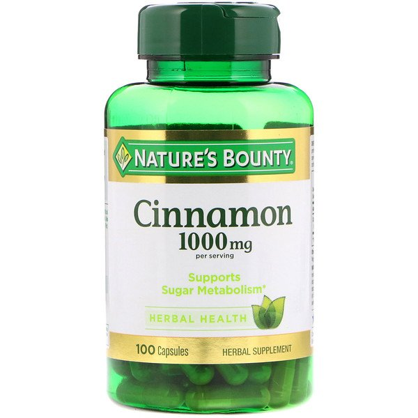 Nature's Bounty, Canela, 1000 mg, 100 capsulas