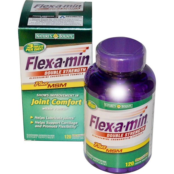 Nature's Bounty, Flex-a-Min, Double Strength, Glucosamine Chondroitin Formula, 120 Coated Tablets (Discontinued Item)