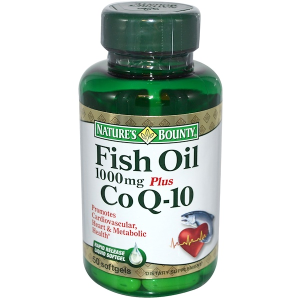 Nature's Bounty, Fish Oil Plus CoQ10, 1000 mg/30 mg, 50 Softgels (Discontinued Item)