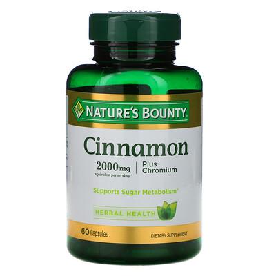 Nature's Bounty Cinnamon Plus Chromium, 2,000 mg, 60 Capsules