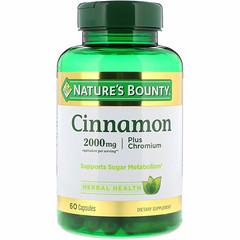 Nature's Bounty, 계피, 플러스 크롬, 2000 mg, 60 캡슐
