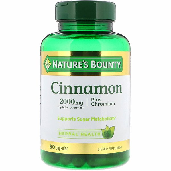 Nature's Bounty, Cinnamon Plus Chromium, 2,000 mg, 60 Capsules