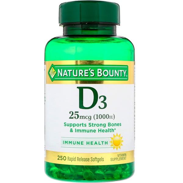 Nature's Bounty, D3, 25 мкг (1000 МЕ), 250 мягких таблеток ускоренного высвобождения