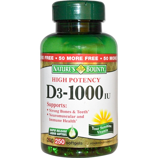 Nature's Bounty, D3, High Potency, 1000 IU, 250 Rapid Release Softgels