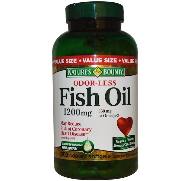Nature's Bounty, Odor-Less Fish Oil, 1200 mg, 200 Coated Softgels  (Discontinued Item)