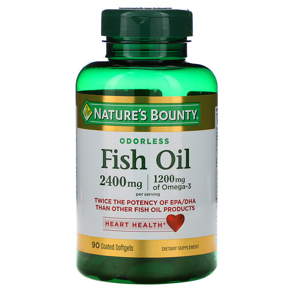 Nature's Bounty, Fish Oil, 2,400 mg, 90 Coated Softgels