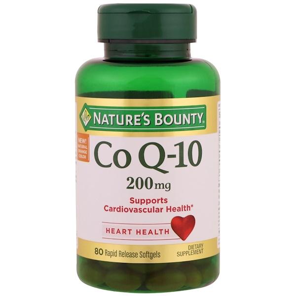 Nature's Bounty, Коэнзим Q-10, 200 мг, 80 мягких капсул с быстрым высвобождением
