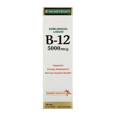 Купить Nature's Bounty Подъязычный жидкий витамин B12, 5000 мкг, 59 мл (2 жидких унции)