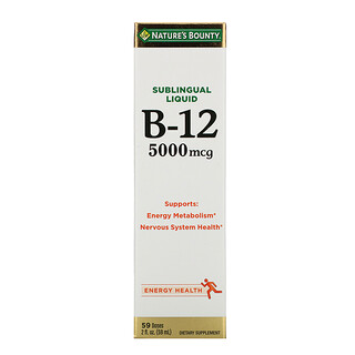 Nature's Bounty, 설하 액, B12, 5,000 mcg, 2 fl oz (59 ml)