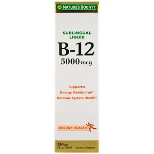 Nature's Bounty, Сублингвальная жидкость, B12, 5000 мкг, 2 жидкие унции (59 мл)