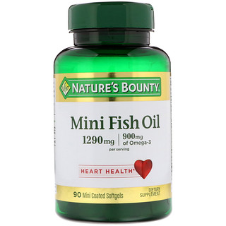Nature's Bounty, Mini Fish Oil, 1290 mg, 90 Mini Coated Softgels