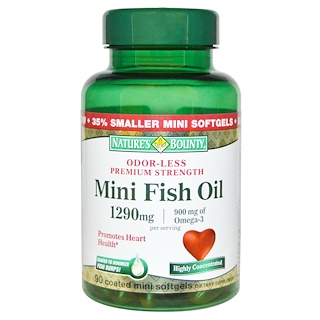 Nature's Bounty, Mini Fish Oil, Premium Strength, 90 Coated Mini Softgels