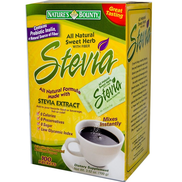 Nature's Bounty, All Natural Sweet Herb with Fiber, Stevia Extract, 100 Packets, 1 g Each (Discontinued Item)