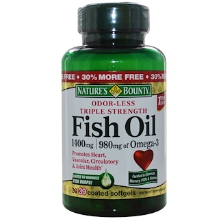 Nature's Bounty, Odor-Less Fish Oil, Triple Strength, 1400 mg, 39 Coated Softgels