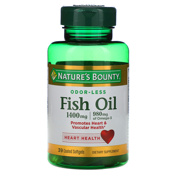 Fish Oil, Triple Strength, 1400 mg, 39 Coated Softgels