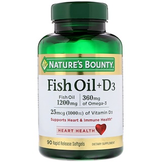 Nature's Bounty, Fish Oil + D3, 90 Rapid Release Softgels