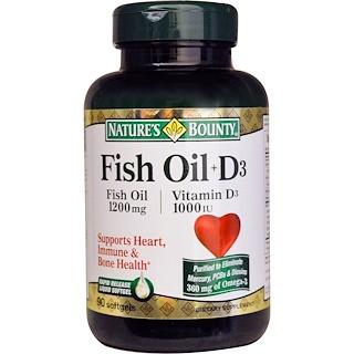 Nature's Bounty, Fish Oil + D3, 90 Softgels
