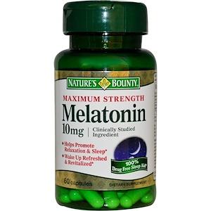 Nature's Bounty, Мелатонин, максимальная сила, 10 мг, 60 капсул