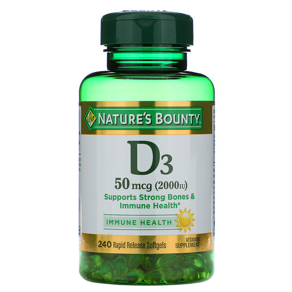 Nature's Bounty, D3, Immune Health, 50 mcg (2,000 IU), 240 Rapid Release Softgels