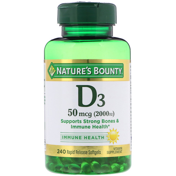 D3, 50 mcg (2000 IU), 240 Rapid Release Softgels