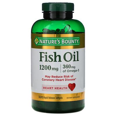 Купить Nature's Bounty Рыбий жир, 1200 мг, 320 мягких желатиновых капсул с быстрым высвобождением действующего вещества