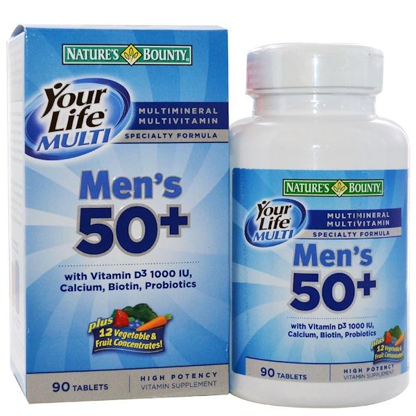 Nature's Bounty, Your Life Multi Men's 50+, специальная формула мультивитаминов и мультиминералов, 90 таблеток (Discontinued Item)