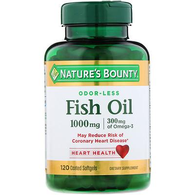 Фото - Odorless Fish Oil, 1,000 mg, 120 Coated Softgels fish oil reflux free 1 000 mg 180 enteric coated softgels