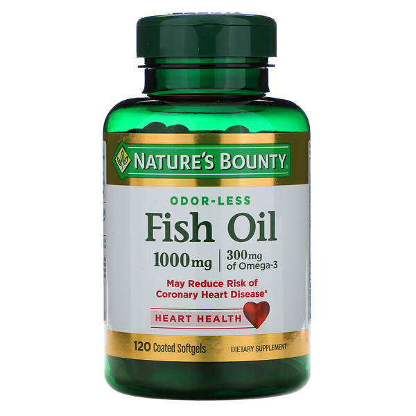 Odorless Fish Oil, 1,000 mg, 120 Coated Softgels