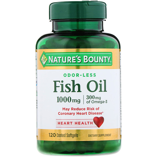 Nature's Bounty, Odorless Fish Oil, 1,000 mg, 120 Coated Softgels