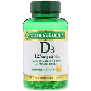 Nature's Bounty, Vitamin D3, 125 mcg (5000 IU), 240 Rapid Release Softgels