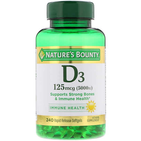 D3, 125 mcg (5,000 IU), 240 Rapid Release Softgels