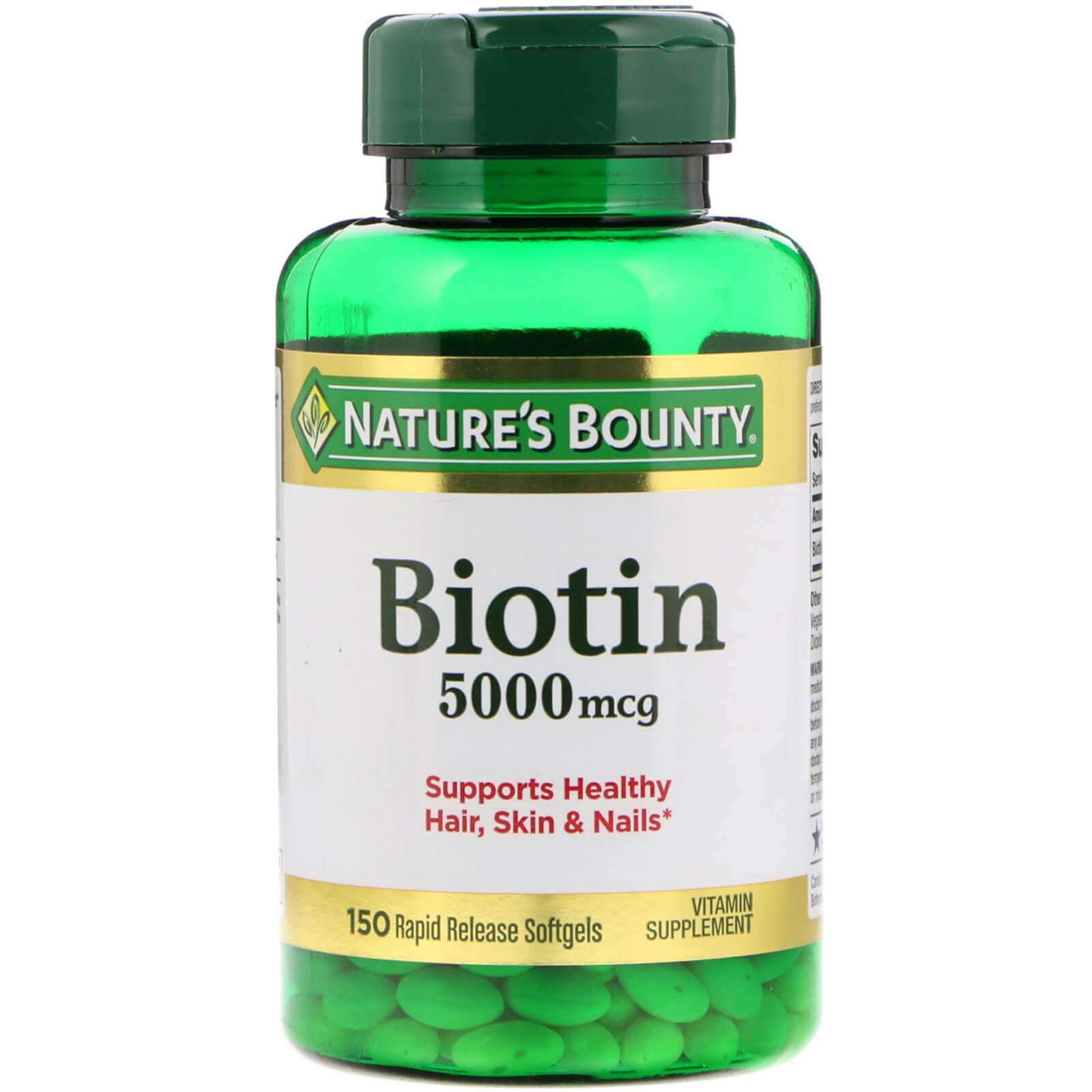 Nature's Bounty, Биотин, 5000 мкг, 150 быстрорастворимых мягких желатиновых капсул