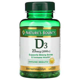 Nature's Bounty, D3, Immune Health, 25 mcg (1,000 IU), 350 Rapid Release Softgels